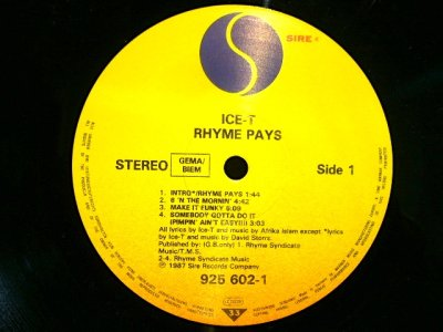 画像3: ICE-T ‎/ RHYME PAYS (GEMA-LP)