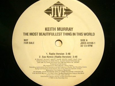 画像1: KEITH MURRAY / THE MOST BEAUTIFULLEST THING IS THIS WORLD (SAX REMIX)  (US PROMO)