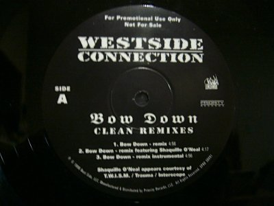 画像1: WESTSIDE CONNECTION ‎/ BOW DOWN (CLEAN REMIXES)  (US-PROMO)