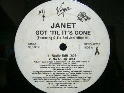 画像1: JANET FEATURING Q-TIP AND JONI MITCHELL / GOT 'TIL IT'S GONE  (US-PROMO)